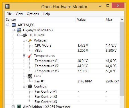 Программа для монитора температуры Open Hardware Monitor